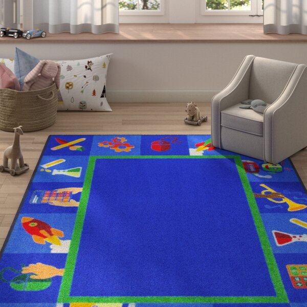 Allwood Full Steam Ahead Blue Area Rug by Zoomie Kids