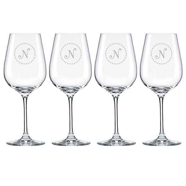 Navy Dots Tuscany Monogram Pinot Grigio 16 Oz. White Wine Glass (Set of 4) by Lenox
