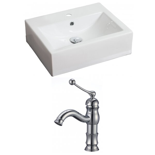 Ceramic 21 Wall Mount Bathroom Sink with Faucet and Overflow by American Imaginations