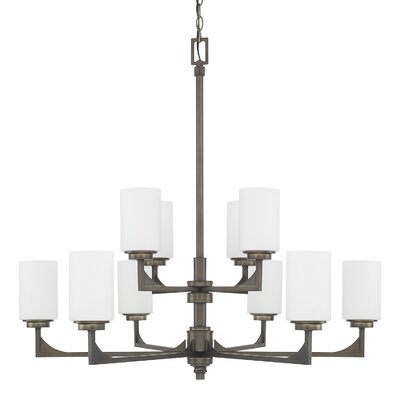 17 Stories Bowdoin 10 Light Shaded Tiered Chandelier 17