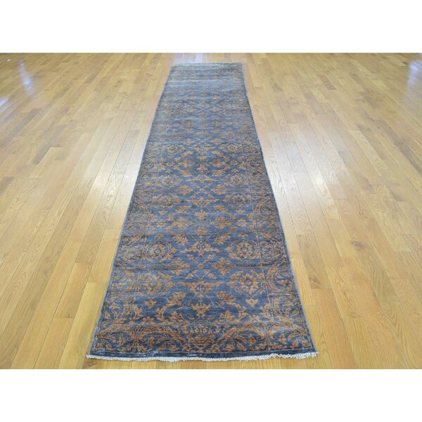 One-of-a-Kind Bean Damask Hand-Knotted Blue Wool/Silk Area Rug by Isabelline