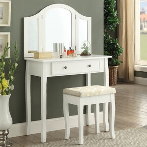Sunny Wooden Vanity Set with Mirror by Roundhill Furniture