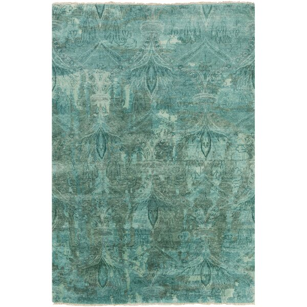 Kelton Teal Damask Rug by Bungalow Rose