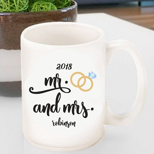 Hartl Personalized Mr. and Mrs. Wedding Ring Coffee Mug by Winston Porter