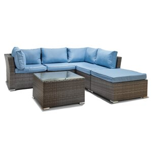Janine Wicker 5 Piece Sectional Seating Group With Cushion