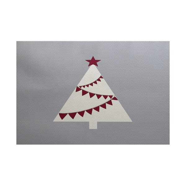 Christmass Tree Gray Indoor/Outdoor Area Rug by The Holiday Aisle