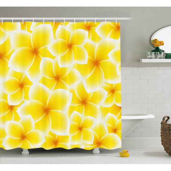 Plumeria Frangipani Asian Cute Flower Blossom Pattern Hawaiian Artwork Shower Curtain Set by Ambesonne