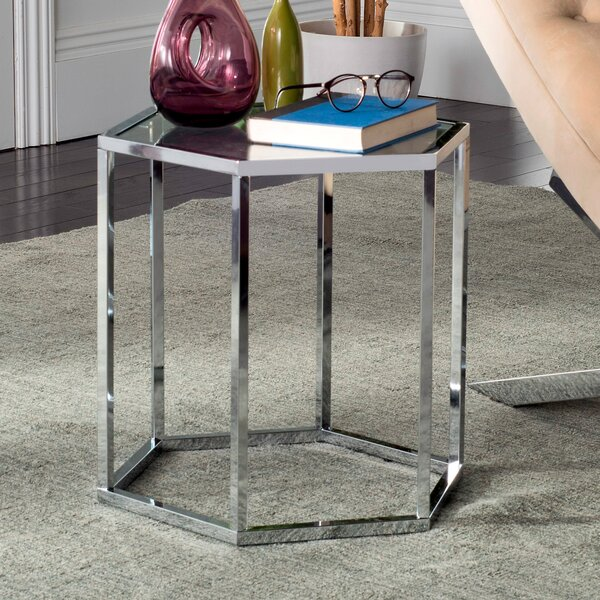 Sapphire Glass End Table by House of Hampton