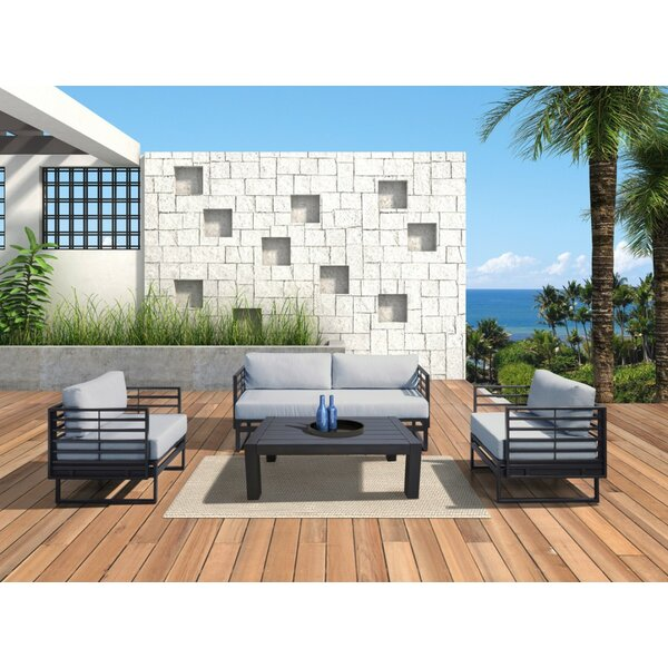 Hornback Outdoor 4 Piece Sofa Seating Group by Latitude Run