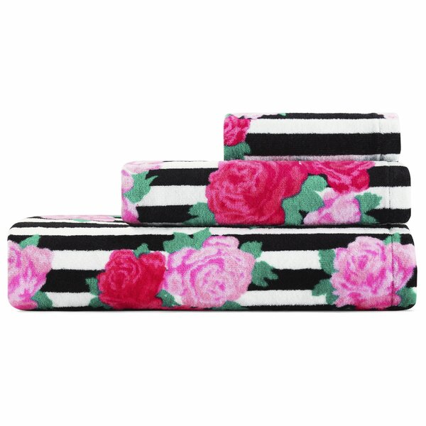 Flower Stripe 3 Piece Cotton Towel Set by Betsey Johnson