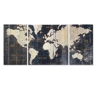 Beau U0027Old World Map Blueu0027 3 Piece Graphic Art Print Set On Wrapped Canvas