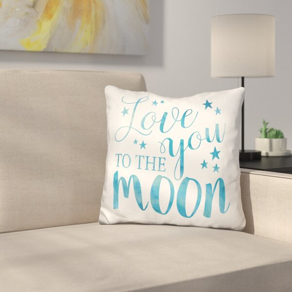 Love You to the Moon Throw Pillow by East Urban Home