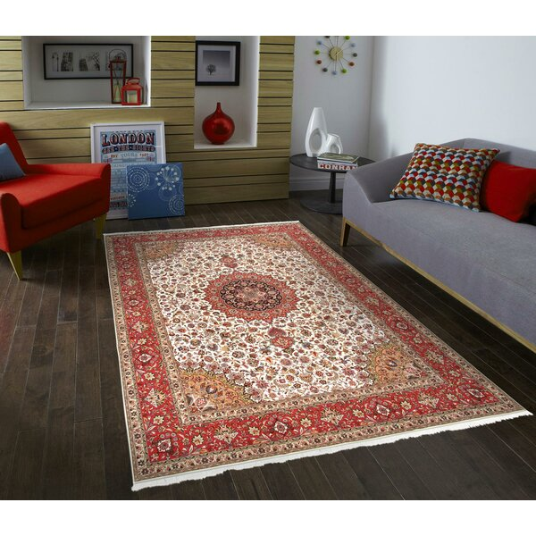 One-of-a-Kind Tabriz Hand-Knotted Ivory/Red 9'11 x 13' Area Rug