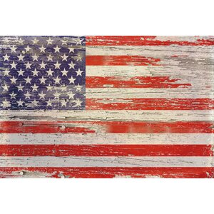 'American Flag Distressed I' Painting Print on Wrapped Canvas by Loon Peak