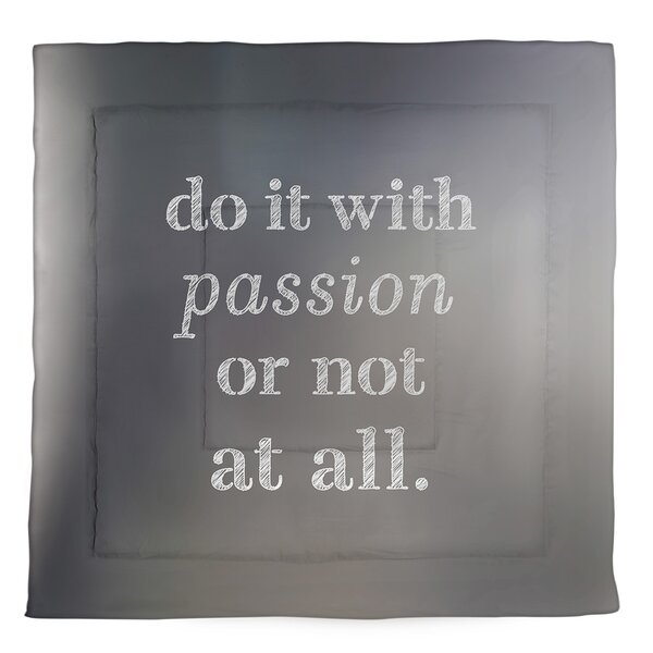 Passion Inspirational Quote Single Reversible Comforter