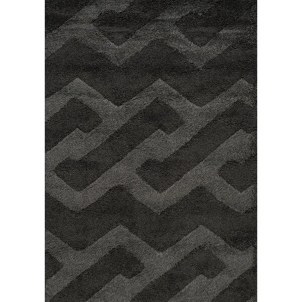 Nataly Maze Luxurious Shag Black Area Rug by Brayden Studio