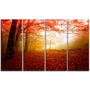 'Yellow Sun Rays in Red Forest' 4 Piece Photographic Print on Wrapped Canvas Set by Design Art
