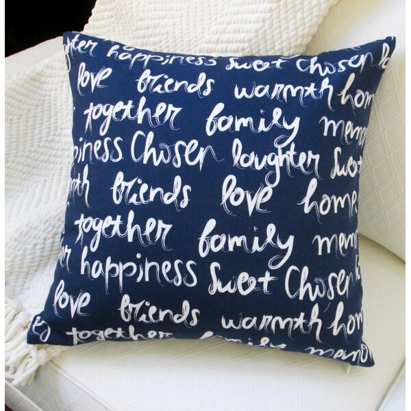 Love, Happiness, Laughter Cotton Pillow Cover by Artisan Pillows