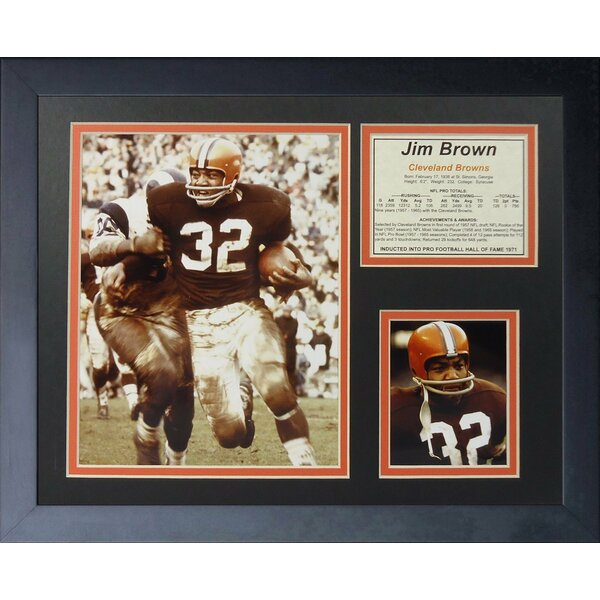 Jim Brown Running Framed Memorabilia by Legends Never Die