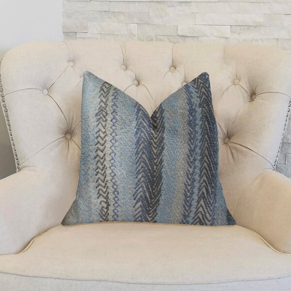 Zigzag Rows Double Sided Linen Lumbar Pillow by Plutus Brands
