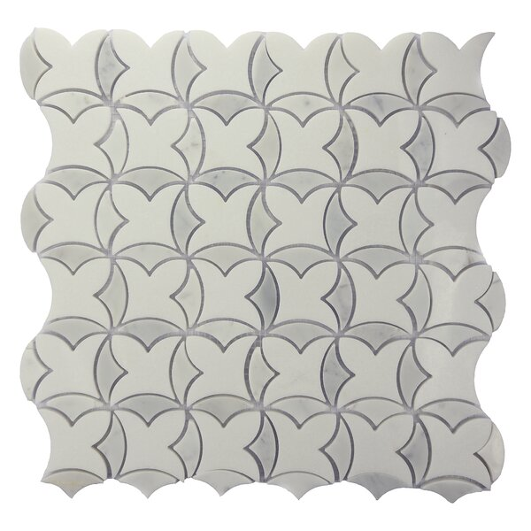 Shangrila Floral Random Sized Marble Mosaic Tile in Gray by Byzantin Mosaic
