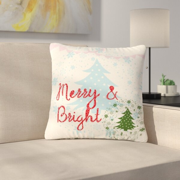 Famenxt Merry and Bright Holiday Typography Outdoor Throw Pillow by East Urban Home