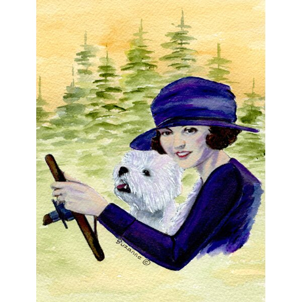 Woman Driving with Her Westie House Vertical Flag by Caroline's Treasures