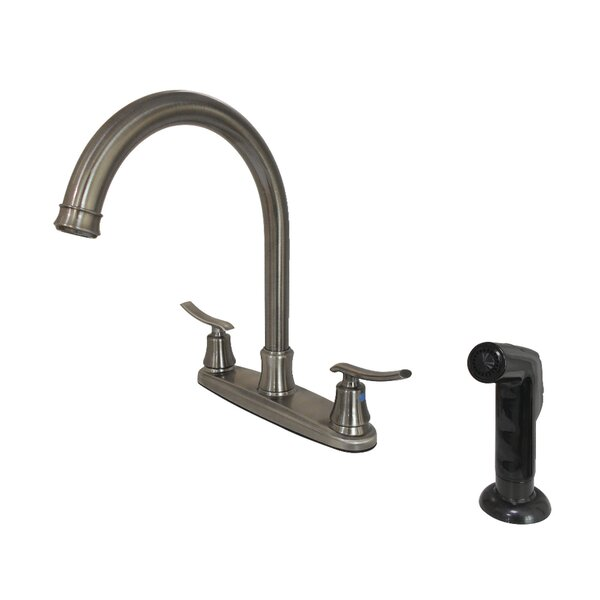 Jamestown Pull Down Double Handle Kitchen Faucet With Side Sprayer By Kingston Brass