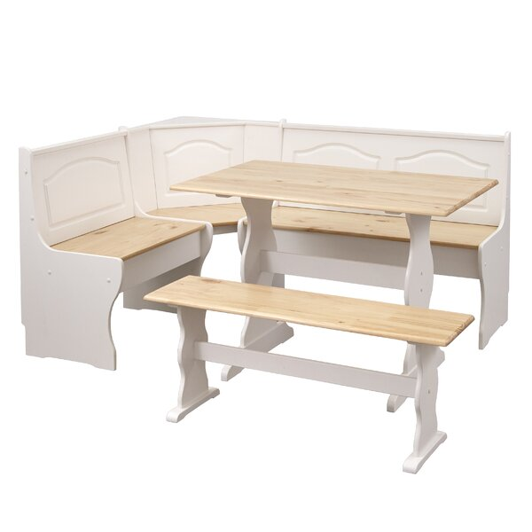 Padstow 3 Piece Solid Wood Breakfast Nook Dining Set by August Grove August Grove