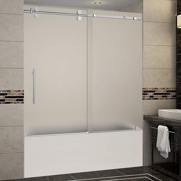 Langham 60 x 60 Single Sliding Frameless Tub Door by Aston