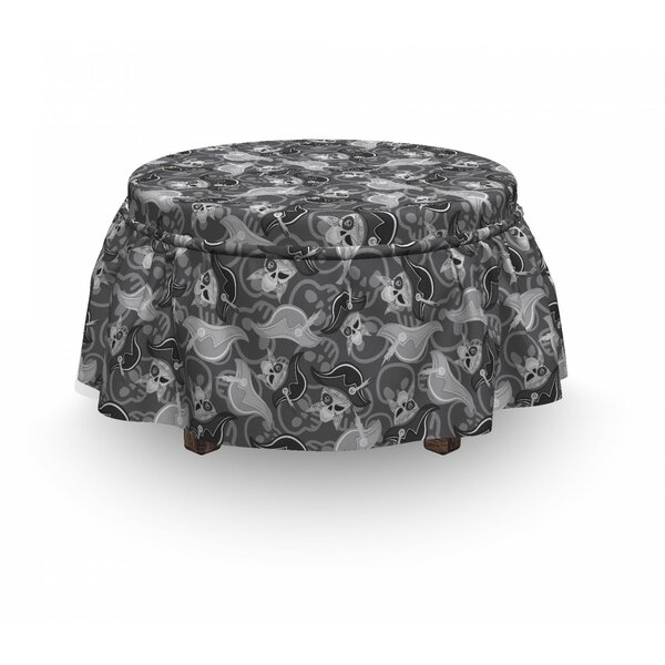 Pirates Scale Skulls Doodle 2 Piece Box Cushion Ottoman Slipcover Set By East Urban Home