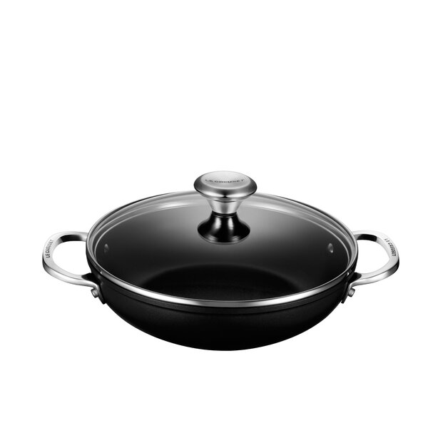 Toughened Nonstick Shallow Aluminum Round Braiser with Lid by Le Creuset
