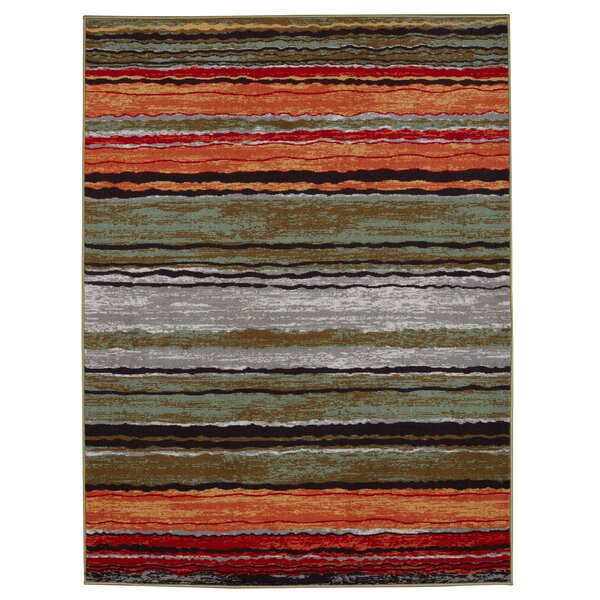 Anne Stripe Orange/Red Area Rug by Diagona Designs