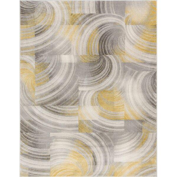 Devanna Polka Dots Modern Zig Zag Gold Area Rug by Ebern Designs