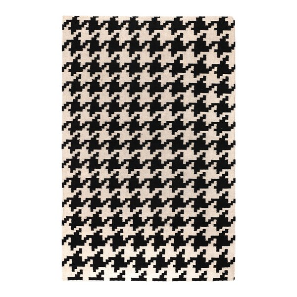 Atkins Houndstooth Hand-Woven Wool Black/ivory Area Rug by Charlton Home