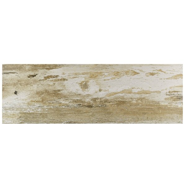 Alcazar 7.88 x 23.63 Ceramic Wood Look Tile in Matte Brown/Beige by EliteTile