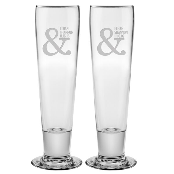 Ampersand Name and Date Tall Pilsner Glass (Set of 2) by Susquehanna Glass