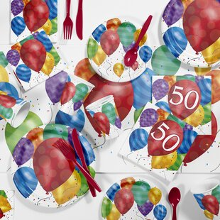 Balloon Blast 50th Birthday Party Paper Plastic Supplies Kit Set Of 81