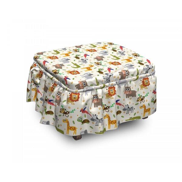Cartoon Animal Childish Fauna 2 Piece Box Cushion Ottoman Slipcover Set By East Urban Home