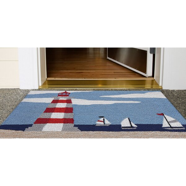 Shelborne Lighthouse Hand-Tufted Blue Indoor/Outdoor Area Rug by Breakwater Bay