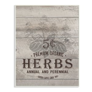 Premium Organic Herbs' Textual Art by Stupell Industries