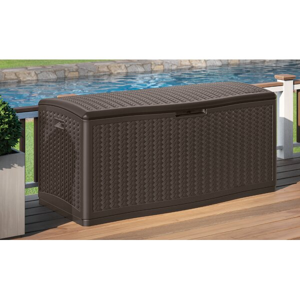 Blow Molded Herringbone 124 Gallon Resin Deck Box By Suncast.