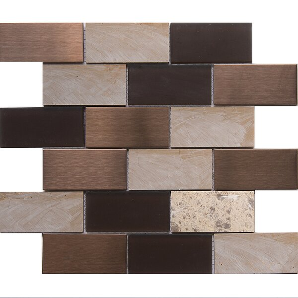 Tetris Cordoba 2 x 4 Glass/Stone Mosaic Tile in White/Chocolate by Matrix Stone USA