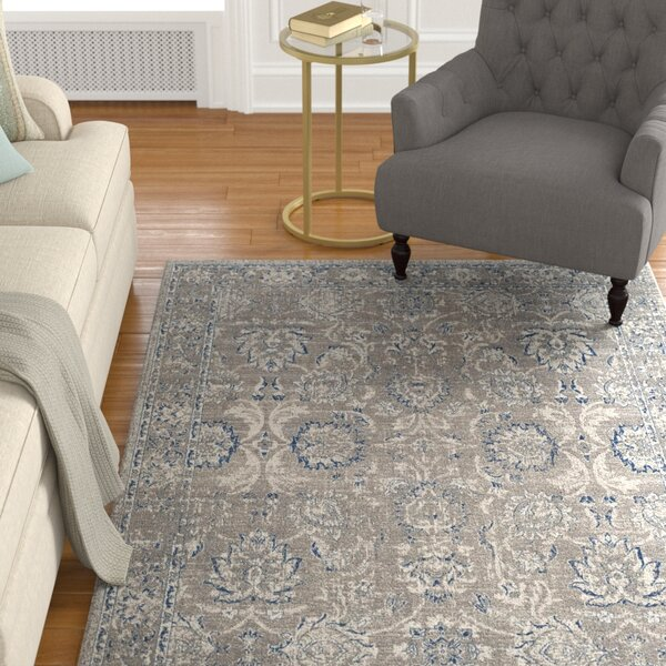 Harwood Cotton Dark Gray/Blue Area Rug by Darby Home Co