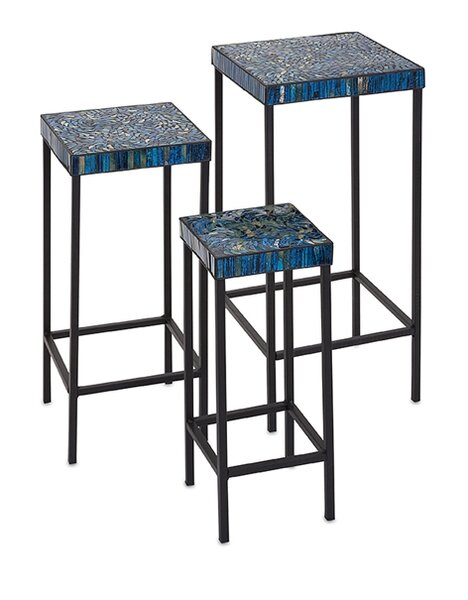 Arvizu 3 Piece Mosaic End Table Set by World Menagerie