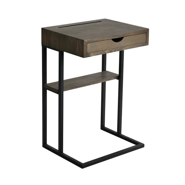 Randazzo Metal and Wood End Table with Storage by Williston Forge