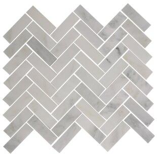 Herringbone 1 X 3 Carrera Marble Mosaic Tile In Gray