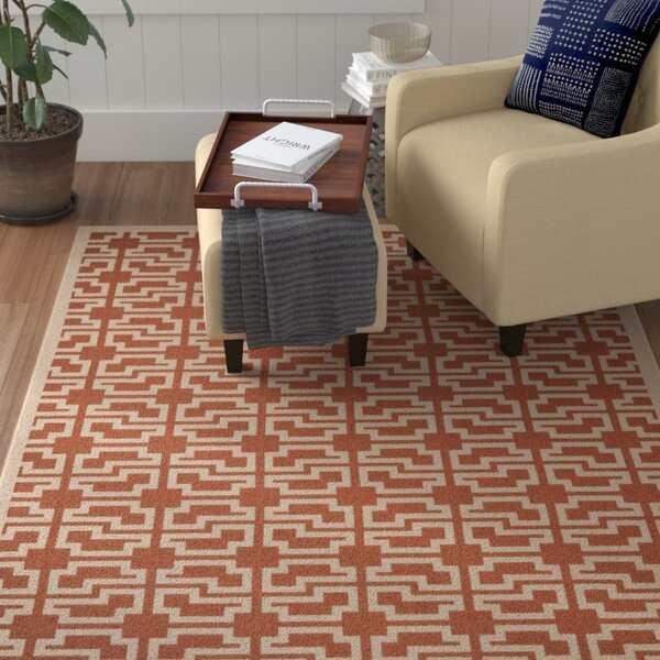 Short Terracotta/Beige Outdoor Area Rug by Winston Porter