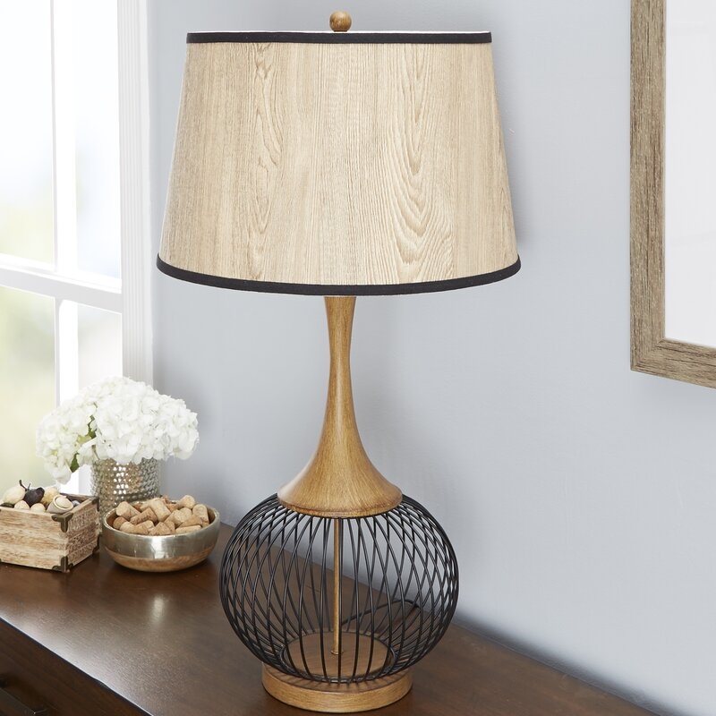 Bungalow rose rishi 23 table lamp with metal wire cage and faux rishi 23 table lamp with metal wire cage and faux wood shade greentooth Choice Image