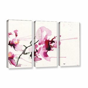 Orchids Iii by Karin Johannesson 3 Piece Painting Print on Wrapped Canvas Set by ArtWall